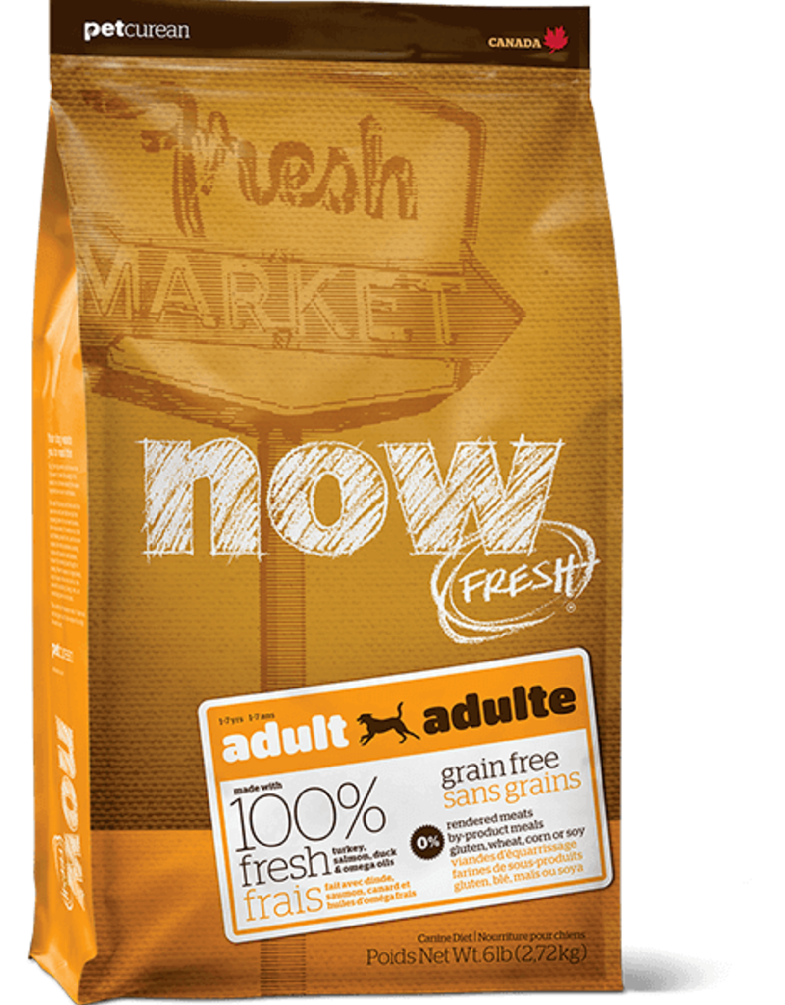 Petcurean Now Fresh Grain Free Dog Adult Turkey Samon Duck 6lb.