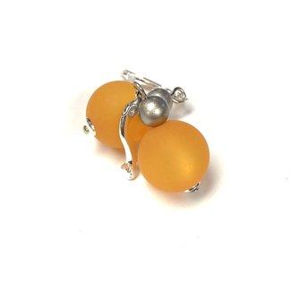 PMA Earring Medium With Small Silver Bead Saffron
