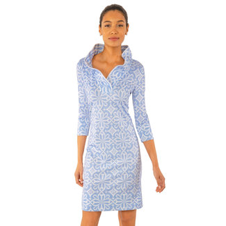 Gretchen Scott Gretchen Scott Ruffneck Dress - Piazza in Pale Blue