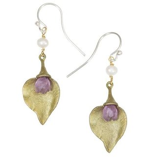 Michael Michaud Design Michael Michaud Lilac Earrings - Wire Dangle Bud with Leaf