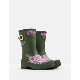 Joules Joules Molly Mid Height Rain Boots Green Floral