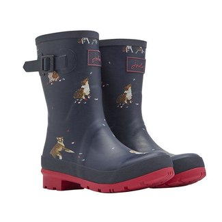 Joules Joules Molly Mid Height Rain Boots French Navy Dogs in Leaves