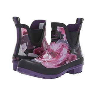 Joules Joules Wellibobs Short Printed Rain Boots Black with Purple Floral