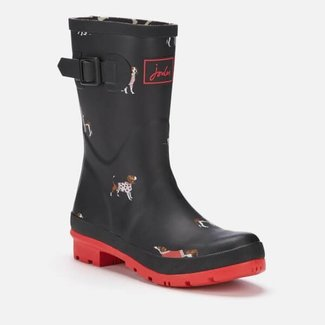Joules Joules Molly Mid Height Rain Boots Black Dogs/Red Sole