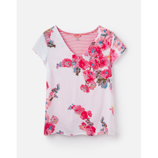 Joules Joules Harriett Woven Jersey Mix V-Neck T-Shirt White Floral