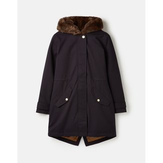 Joules Joules Women's Piper Parka with Fur Trimmed Hood - Marine Navy