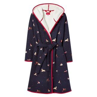 Joules Joules Women's Ida Jersey Fleece Lined Robe - Christmas Dogs