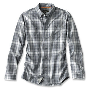 Orvis Orvis Men's Tech Chambray Plaid Work Shirt - Navy