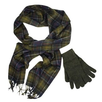 Barbour Scarf and Glove Gift Set Classic/Olive