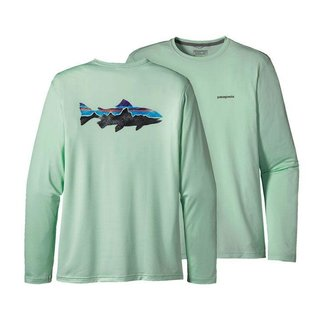 Patagonia Patagonia Men's Graphic Tech Fish T Painted Fitz Roy  Trout, Lite Distilled Green XLarge
