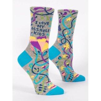 Blue Q Blue Q Women's Crew Socks - I Love. My Asshole Kids