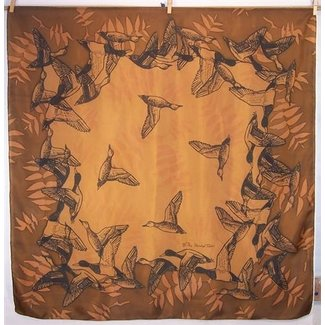 Silk Scarf: Ducks on Brown Square