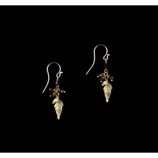 Michael Michaud Design Michael Michaud Fern Earrings - Single Leaf with Garnet
