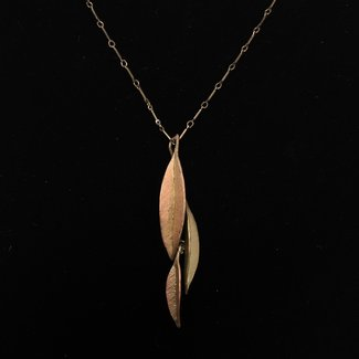 "Michael Michaud Design Micheal Michaud Ash Leaf necklace - 30"" Two Tone"