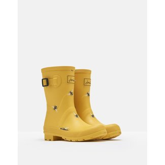 Joules Joules Molly Mid Height Rain Boots Gold Botanical Bees