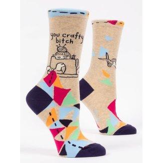Blue Q Blue Q Women's Crew Socks - You Crafty Bitch