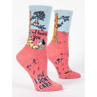 Blue Q Blue Q Women's Crew Socks - I Heard You And I Don't Care