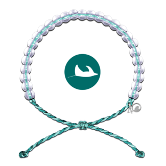 4Ocean 4Ocean Beaded Bracelet Manta Ray - Aqua/White