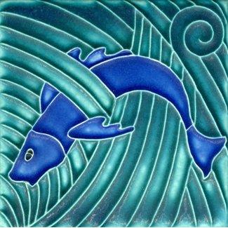 Motawi Tileworks Motawi Tile Leaping Fish 4x4