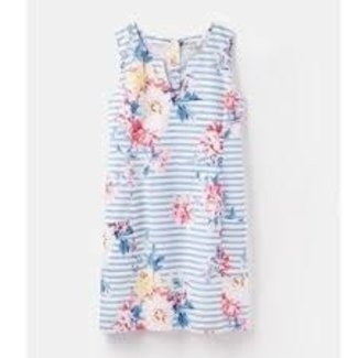 Joules Joules Elayna Notch Neck Shift Dress, White Stripe Whitstable Floral