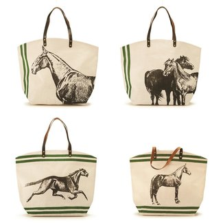 Two's Company Classic Rider Jute Bag with Leather Handle
