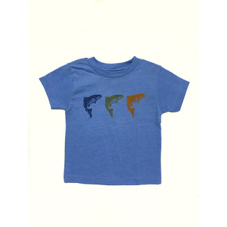 Painted Trout Toddler & Youth Tee 3 Fish - Blue