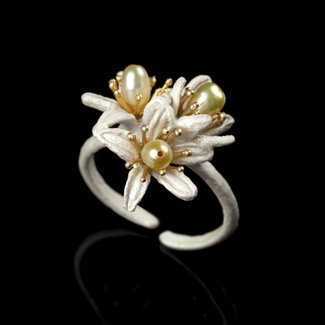 Michael Michaud Design Michael Michaud Orange Blossom Triple Flower Ring - Adjustable