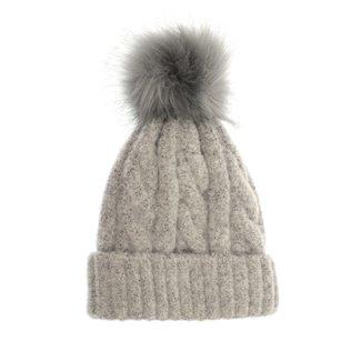 Joy Susan Soft Cable Knit Pom Pom Hat