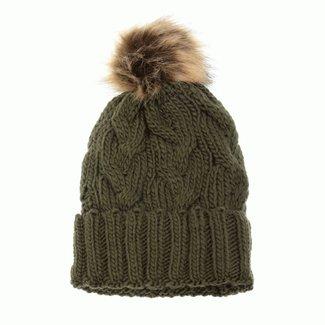 Joy Susan Cable Knit Pom Pom Hat