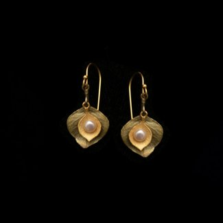 Michael Michaud Design Michael Michaud Eucalyptus Round Leaf Pearl Earrings - Wire Drop