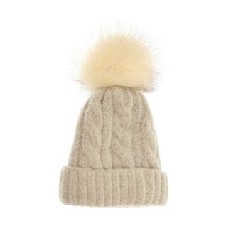 Joy Susan Joy Susan Soft Cable Knit Pom Pom Hat