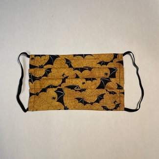 The Painted Trout Hand-Made Fabric Face Masks Halloween Bats, Bright