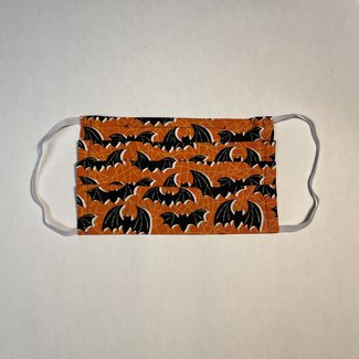 The Painted Trout Hand-Made Fabric Face Masks Halloween Bats,  Dark
