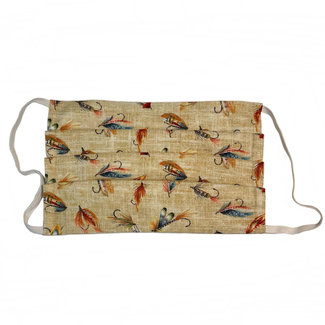 The Painted Trout Hand-Made Fabric Face Masks Flies on Tan Canvas
