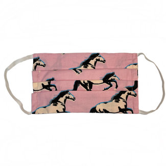The Painted Trout Hand-Made Fabric Face Masks Pink Horses