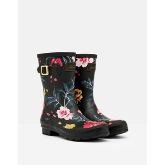 Joules Joules Molly Mid Height Rain Boots Black Floral