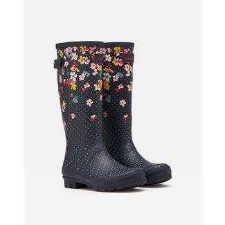 Joules Joules Rain Boots With Adjustable Gusset Navy Blossom