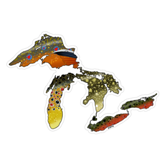 "Boneyard Fly Gear Great Lakes Fish Skins Sticker 3"" x 5"""