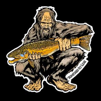 "Boneyard Fly Gear Sasquatch Brown Trout Sticker 5"" x 5"""
