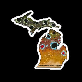 "Boneyard Fly Gear Michigan Brown Sticker 5.5"" x 5.5"""