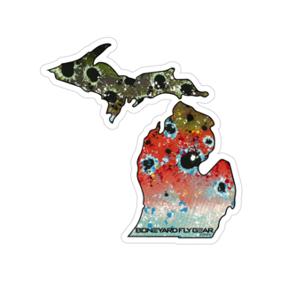 "Boneyard Fly Gear Michigan Rainbow Sticker 5.5"" x 5.5"""