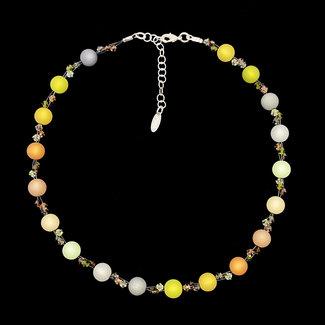 PMA Necklace Three Crystals Small Bead Mustard