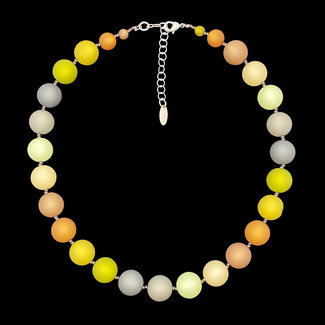 PMA Necklace Medium with Grey Accedt Beads Mustard