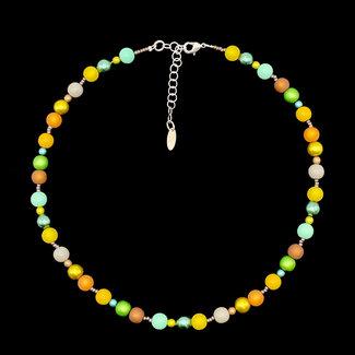 PMA Necklace Small/Tiny Bead Mustard/Greens