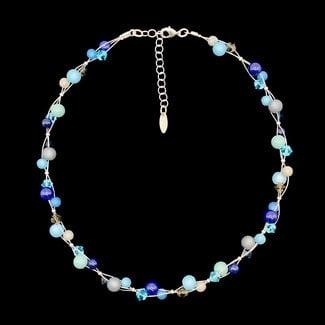 PMA Necklace Tiny Bead Cluster Crystals Winter Marine Blue