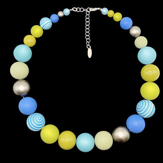 PMA Necklace Shiny Swirl Metallic Powder Blue Green