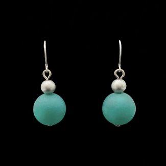 PMA Earring Medium With Small Silver Bead Winter Dark Green