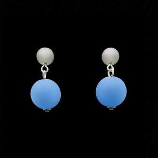 PMA Earring Post Double Bead Navy/Dark Grey