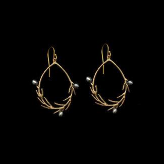 Michael Michaud Design Michael Michaud Wax Flower Earrings - Oval Wire