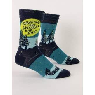 Blue Q Blue Q Men's Crew Socks - Dragons And Wizards And Shit